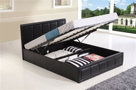 lift and store beds ottoman storage gas lift up double king size leather bed