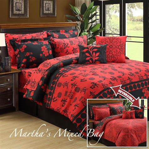 Japanese Bedding Sets Asian Cherry Blossom Black Size Comforter Bedding Set Ebay