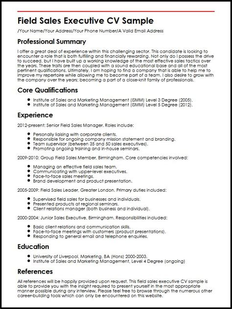 professional sales cv format field sales executive cv sle myperfectcv