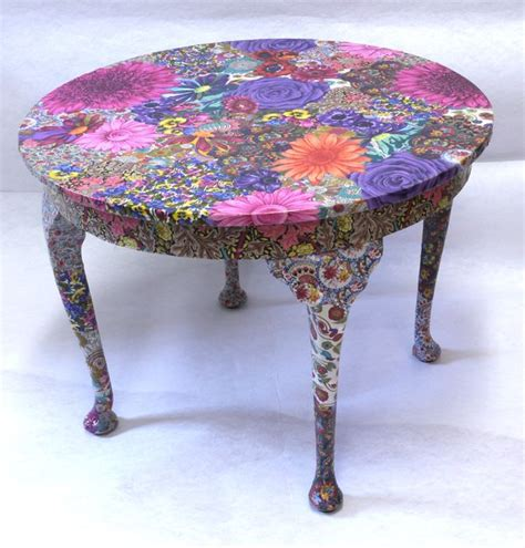 Decoupaging Furniture - flora table fabric decoupage project pinteres