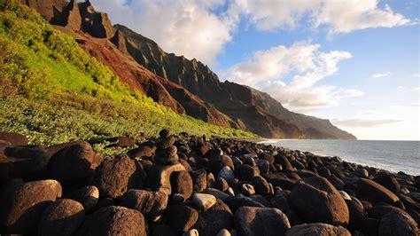full hd wallpaper coast rock mountain sea landscape