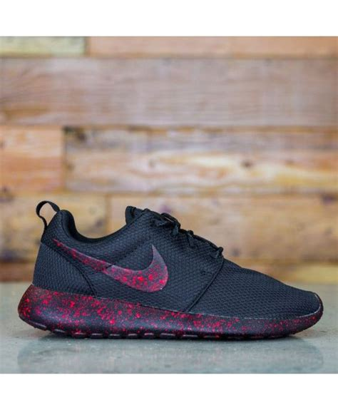 customize nike sneakers nike roshe run custom black paint speckle shoes