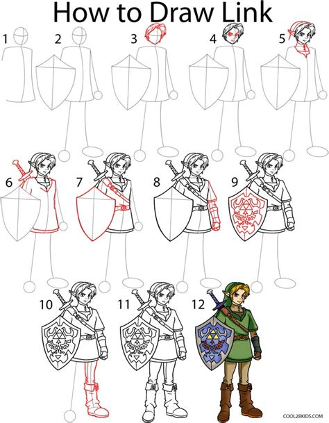 doodle drawing step by step how to draw link step by step pictures cool2bkids