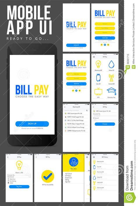 design app presentation material design ui ux screens for mobile apps royalty