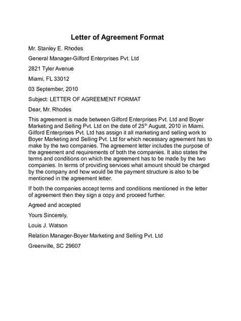 Letter Of Agreement Contract Pdf Agreement Letter Templates 10 Free Templates In Pdf Word Excel