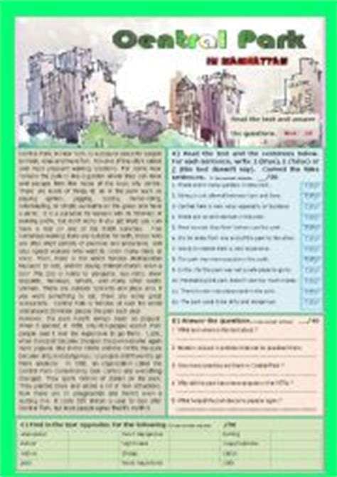 reading comprehension test new york english teaching worksheets at the park