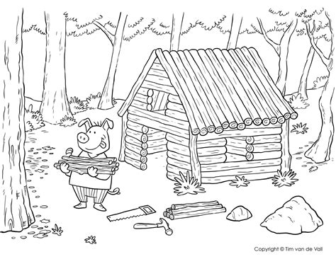straw house coloring page coloring coloring pages