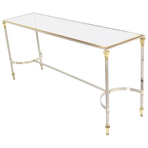 brass chrome and glass top console or sofa table for