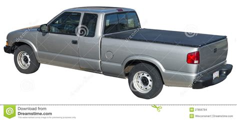 chevy s10 bed cover gray pick up truck tonneau cover isolated stock photo