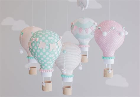 pink aqua baby mobile air balloon nursery decor custom