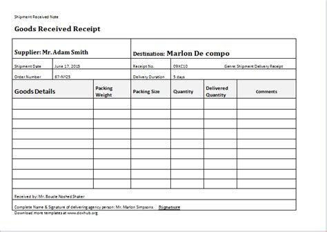 proof of delivery template word proof of delivery template for ms word document hub
