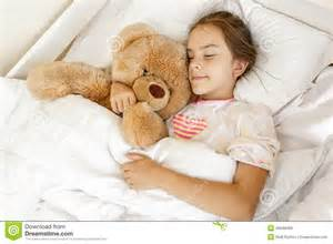 Nap Bed Rest Cute Sleeping And Hugging Big Teddy Bear At Bed Stock