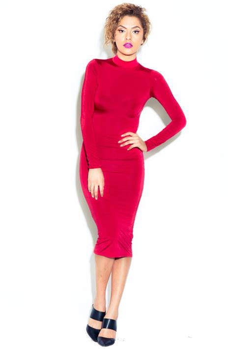 Obralll Turtleneck Bodycon Midi Tl9573 lethalbeauty turtle neck midi length bodycon dress