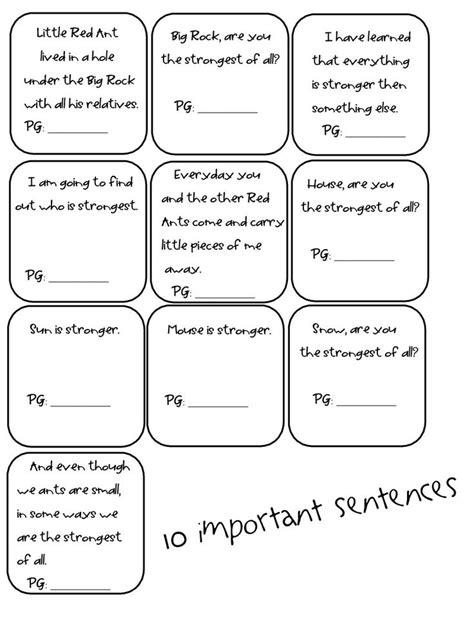 Ten Important Sentences Reading Street. Make for 2nd grade