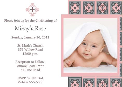 christening invitation for baby girl christening