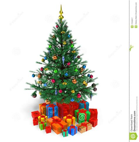 decorated christmas tree with gifts stock illustration