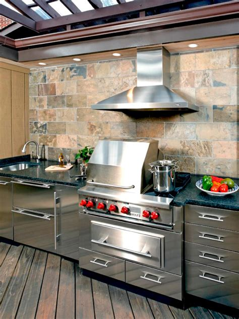 outdoor kitchen stainless steel cabinets outdoor rooms add livable space hgtv