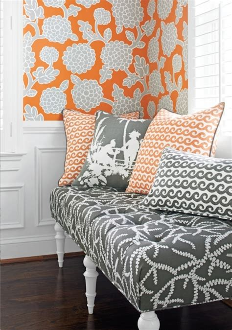 Thibaut Designs by Orange And Gray Wallpaper Contemporary Living Room