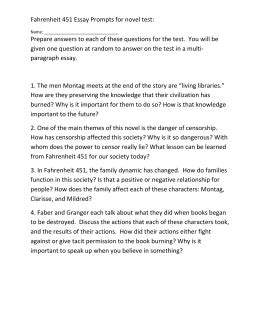 Fahrenheit 451 Essay Montag Changes by Fahrenheit 451 Part 2 The Sieve And The Sand Questions 1 How