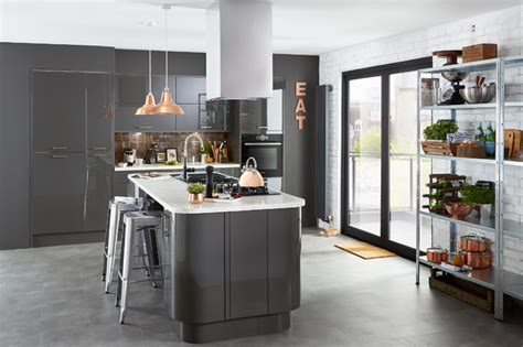 b q kitchen islands cooke lewis rafello high gloss anthracite contemporary kitchen hshire by b q