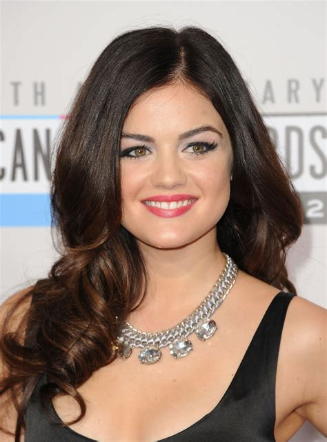 hairstyles that compliment full round face lucy hale long curls hair lookbook stylebistro