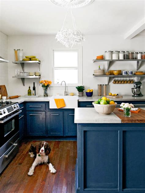 Navy Blue Kitchen Cabinets by Kitchen Trend Painted Cabinets And Brass Hardware