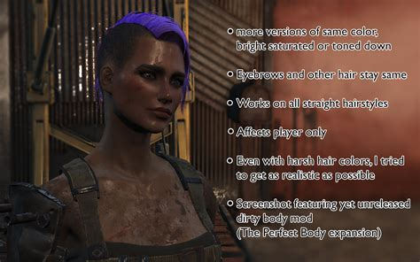 Fallout 4 Hair Color | hair dye mod separate hair and eyebrows color fallout