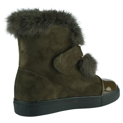 womens shoes ankle boots fur lined fluffy contrast