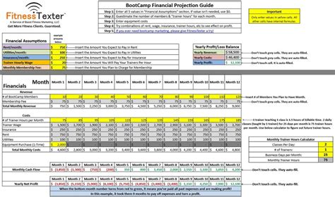 Free Financial Excel Spreadsheet For Bootcs Fitnesstexter Fitness Studio Business Plan Template