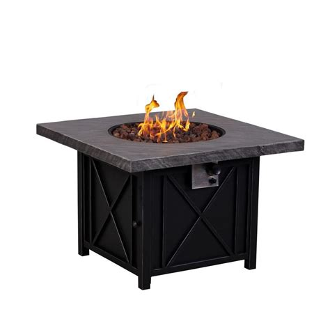 Outdoor Table With Firepit Pleasant Hearth 38 In Square Gas Pit Table Ofg418ta The Home Depot