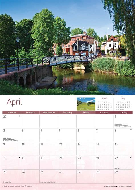 quaint town countryside view tapestry wall hanging h50 quot x w70 quot surrey a4 calendar 2018 calendar club uk