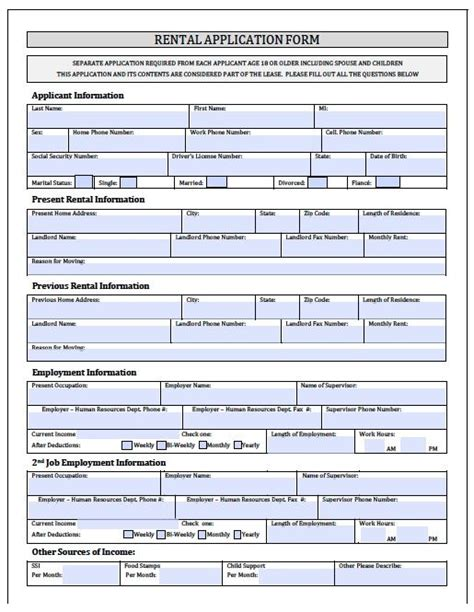 printable house rental application printable sle rental application forms form real