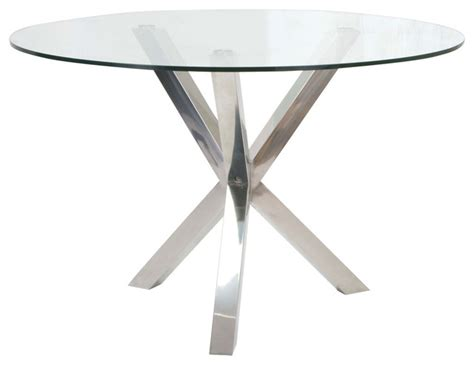 Redondo Round Glass Dining Table, Stainless Steel Base