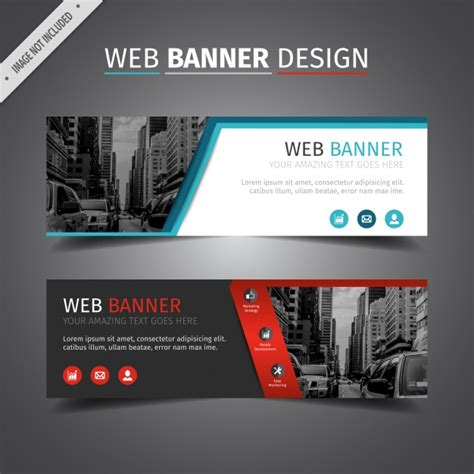 design banner online website double web banner design vector free download