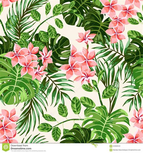 pattern tropical vector seamless exotic pattern with tropical leaves and flowers