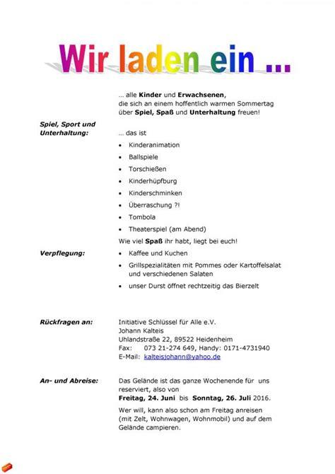 Muster Einladung Jubiläum Verein Initiative Schl 252 Ssel F 252 R Alle E V Sommerfest