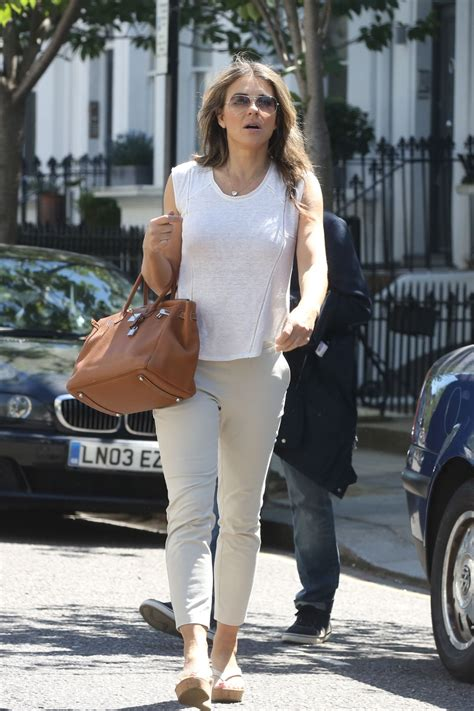 Liz Hurley In Brittish In Style by Elizabeth Hurley Casual Style Leaves House In