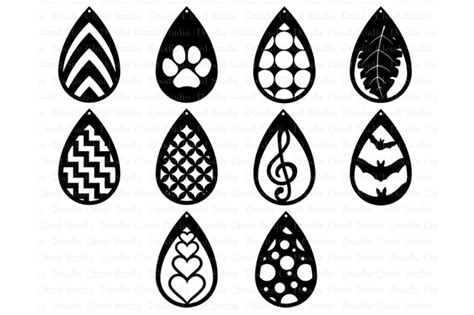 earring card template silhouette earring template svg tear drop earrings cut files by