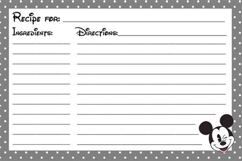 printable disney recipe cards another mickey mouse printable recipe card disney cruise