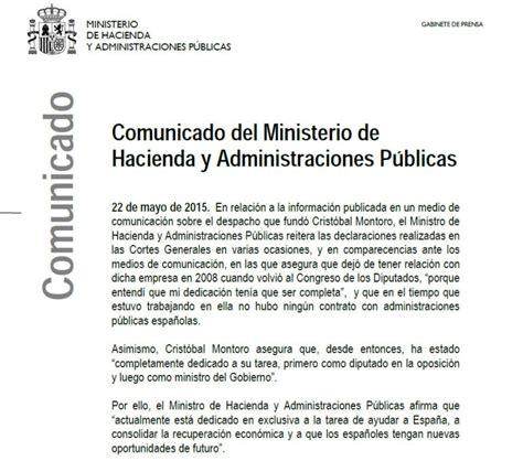 ministerio de hacienda resolucion para medios magneticos 2015 hacienda niega que el antiguo bufete de montoro contratara