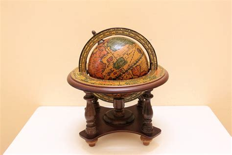 Vintage Small Wooden Globe Stand For Desk By Bygrassdoll Small Desk Globe