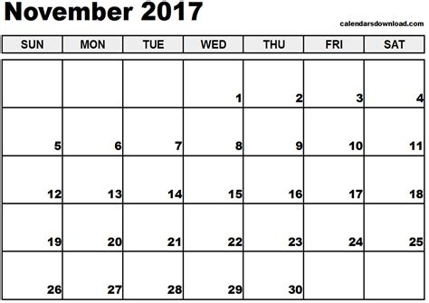 november 2017 calendar excel weekly calendar template
