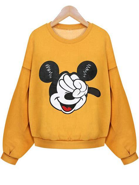 Bershka Sweatshirt Mickey Print sweat shirt court imprim 233 mickey romwe