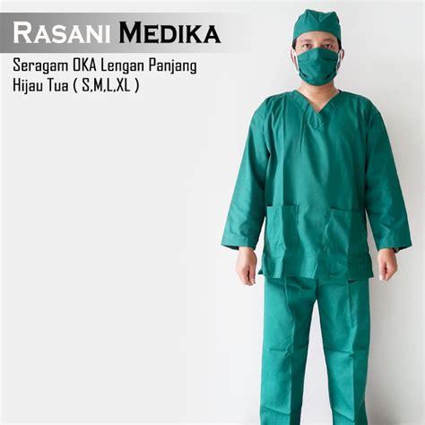 Baju Oka Operasi baju kamar operasi panjang baju ok hijau tua rasani medika