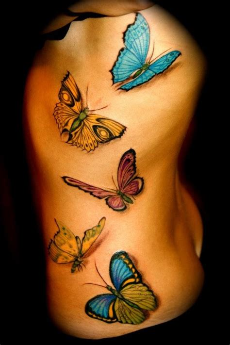 3d three butterfly tattoo pictures design idea