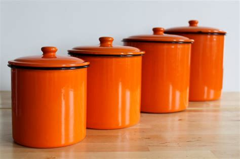 enamel flame orange canister set bright colorful enamelware nesting kitchen canisters set of