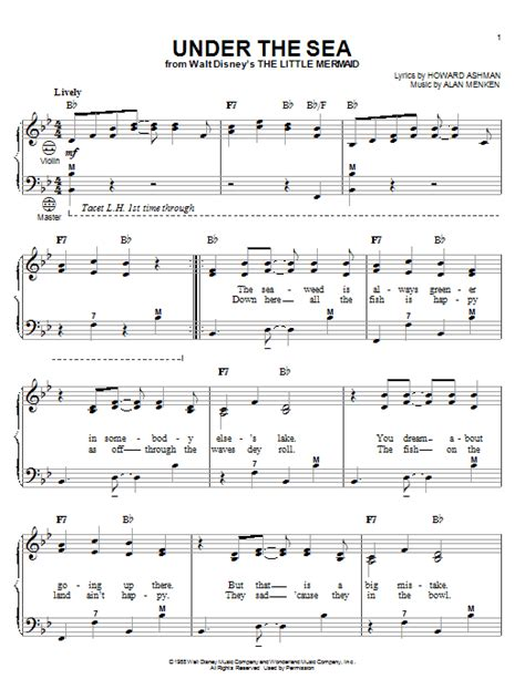 printable lyrics to under the sea under the sea sheet music direct