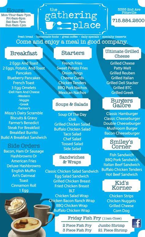 the gathering place restaurant menu marshfield wi 2015