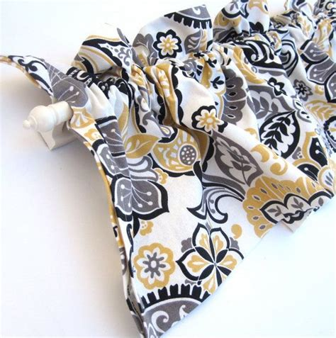 Black And Yellow Valance Ranae Valance Curtains Yellow White Black Paisley By