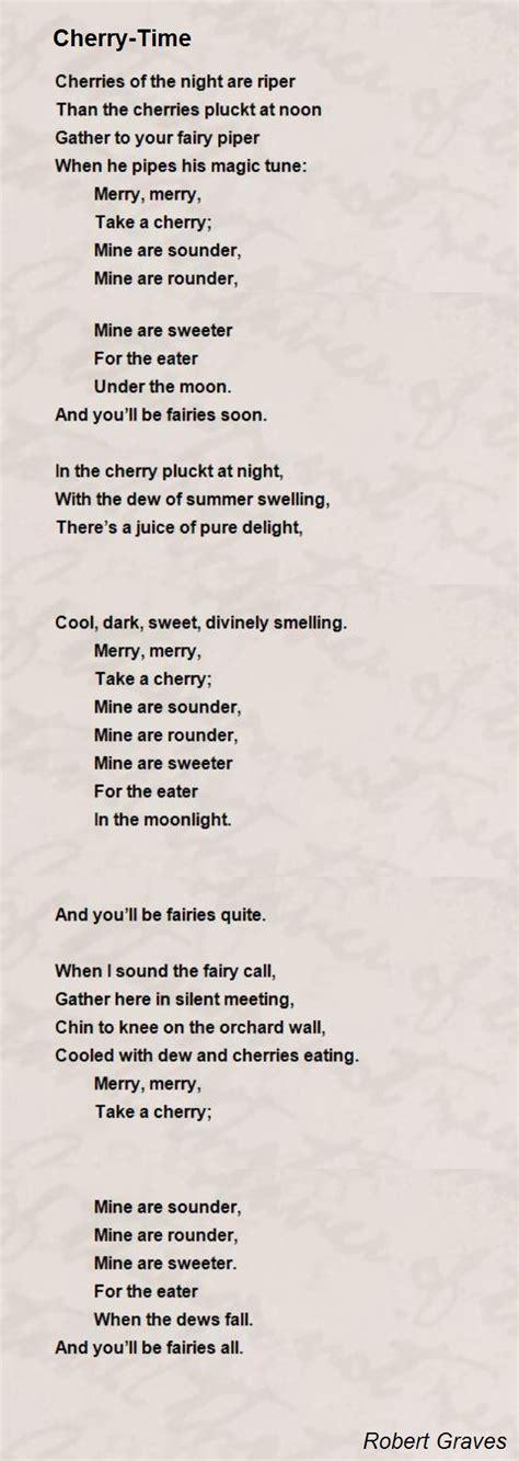 cherry time poem by robert graves poem hunter